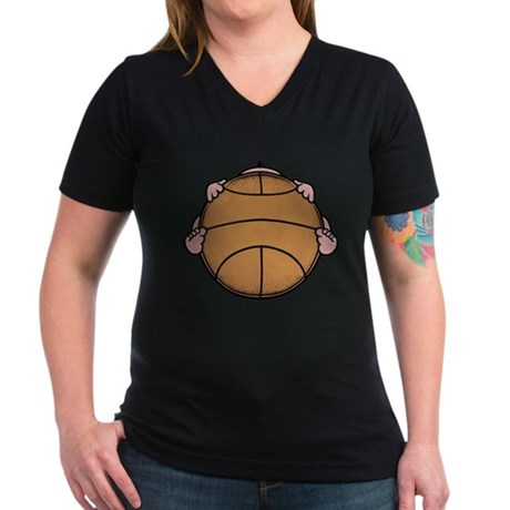 Basketbaby Women's V-Neck Dark T-Shirt