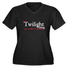 Twilight Thing Women's Plus Size V-Neck Dark Tee