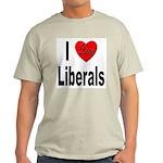 I Love Liberals (Front) Ash Grey T-Shirt