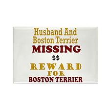 Husband & Boston Terrier Missing Rectangle Magnet
