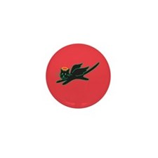 Black Angel Kitty on Red Mini Button (100 pack)