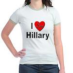 I Love Hillary (Front) Jr. Ringer T-Shirt