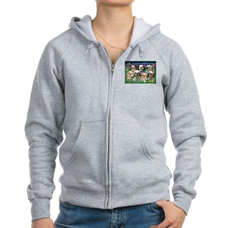7 Shih Tzus in Moonlight Women's Zip Hoodie