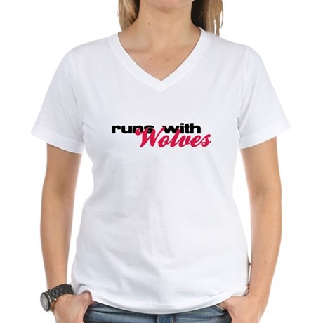 Runs With Wolves Women's V-Neck T-Shirt