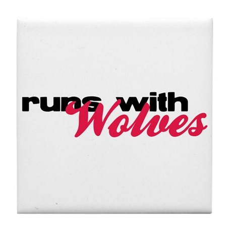 Runs With Wolves Tile Coaster