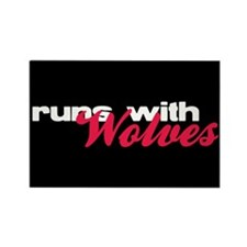 Runs With Wolves Rectangle Magnet