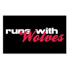 Runs With Wolves Rectangle Decal