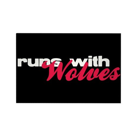 Runs With Wolves Rectangle Magnet (100 pack)