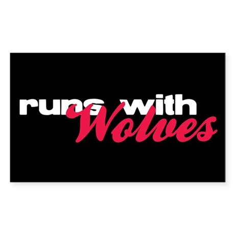 Runs With Wolves Rectangle Sticker 50 pk)