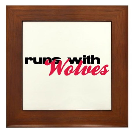 Runs With Wolves Framed Tile