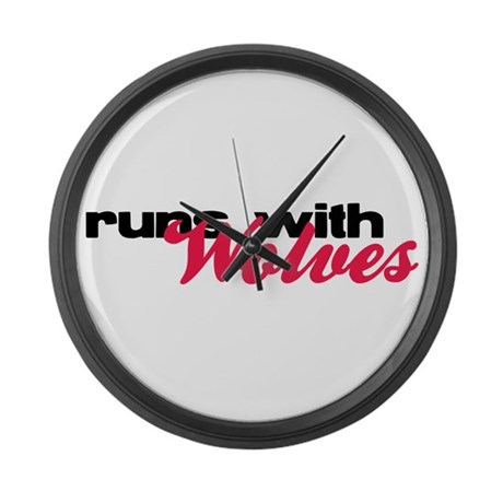 Runs With Wolves Large Wall Clock