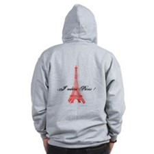 Eiffel Tower J'adore Paris Zip Hoodie
