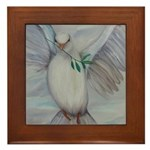 White Dove of Peace Framed Tile