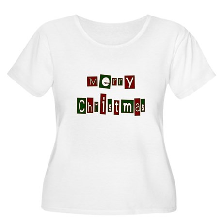 Merry Christmas Women's Plus Size Scoop Neck T-Shi