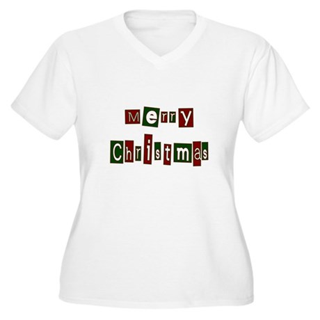Merry Christmas Women's Plus Size V-Neck T-Shirt