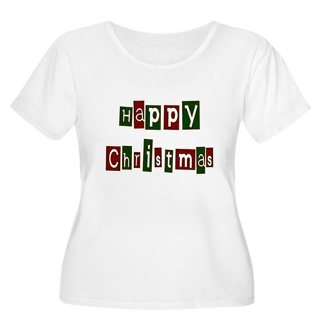 Happy Christmas Women's Plus Size Scoop Neck T-Shi