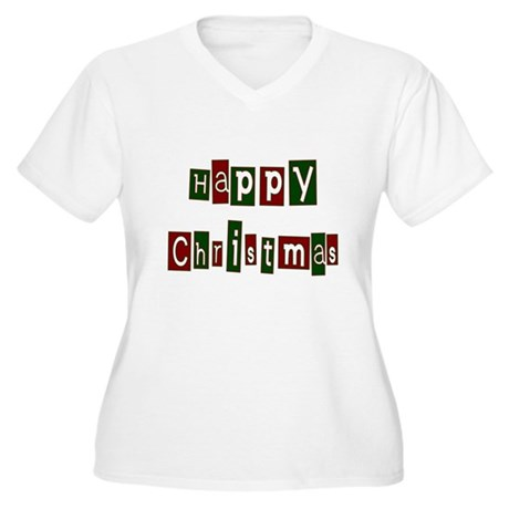 Happy Christmas Women's Plus Size V-Neck T-Shirt