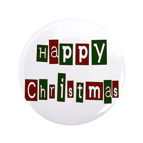 "Happy Christmas 3.5"" Button"