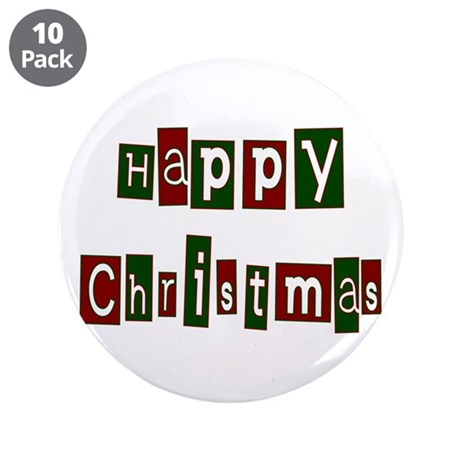 "Happy Christmas 3.5"" Button (10 pack)"