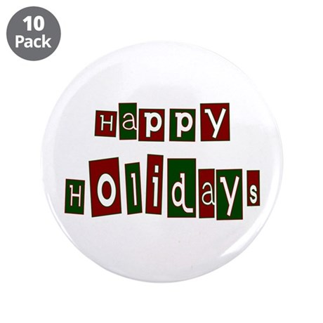 "Happy Holidays 3.5"" Button (10 pack)"