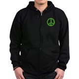 Green Peace Sign Zip Hoodie