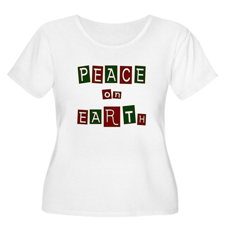 Peace on Earth Women's Plus Size Scoop Neck T-Shir
