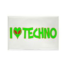 I Love-Alien Techno Rectangle Magnet
