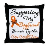 Orange Ribbon Butterfly Throw Pillow