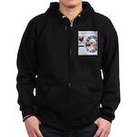 Agility Chinese Pugs Zip Hoodie (dark)