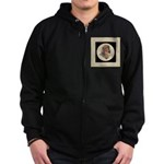 Longhaired Dachshund head stu Zip Hoodie (dark)