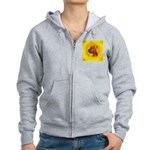 Beautiful Bloodhound Head stu Women's Zip Hoodie