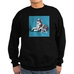 Siberian Husky and Puppy Sweatshirt (dark)