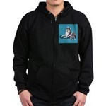 Siberian Husky and Puppy Zip Hoodie (dark)