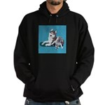 Siberian Husky and Puppy Hoodie (dark)