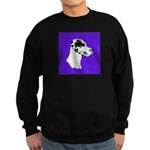 Down Ear Harlequin Great Dane Sweatshirt (dark)
