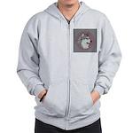 Gray Alaskan Malamute Zip Hoodie