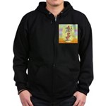 Norwich Terrier & Cat Zip Hoodie (dark)