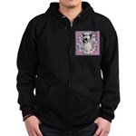 Powder Puff Chinese Crested Zip Hoodie (dark)