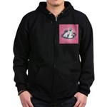 Shih Tzu and Flowers Zip Hoodie (dark)