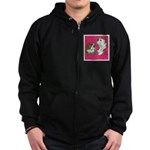 English Bulldog Pair Zip Hoodie (dark)