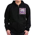 Bulldog puppy with flowers Zip Hoodie (dark)