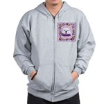 Bulldog puppy with flowers Zip Hoodie