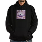 Bulldog puppy with flowers Hoodie (dark)