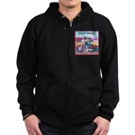 Bulldog and Frenchie Biker Zip Hoodie (dark)