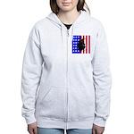 Belgian Sheepdog & Flag Women's Zip Hoodie