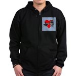 Australian Cattle Dog Kiss Zip Hoodie (dark)