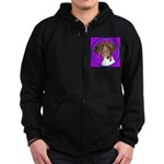 German Shorthair Pointer Head Zip Hoodie (dark)