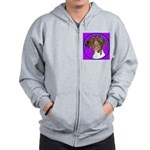 German Shorthair Pointer Head Zip Hoodie