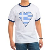 Greek Heart-Shaped Flag T