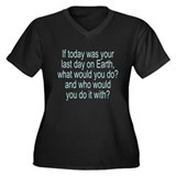 Big Question Women's Plus Size V-Neck Dark T-Shirt